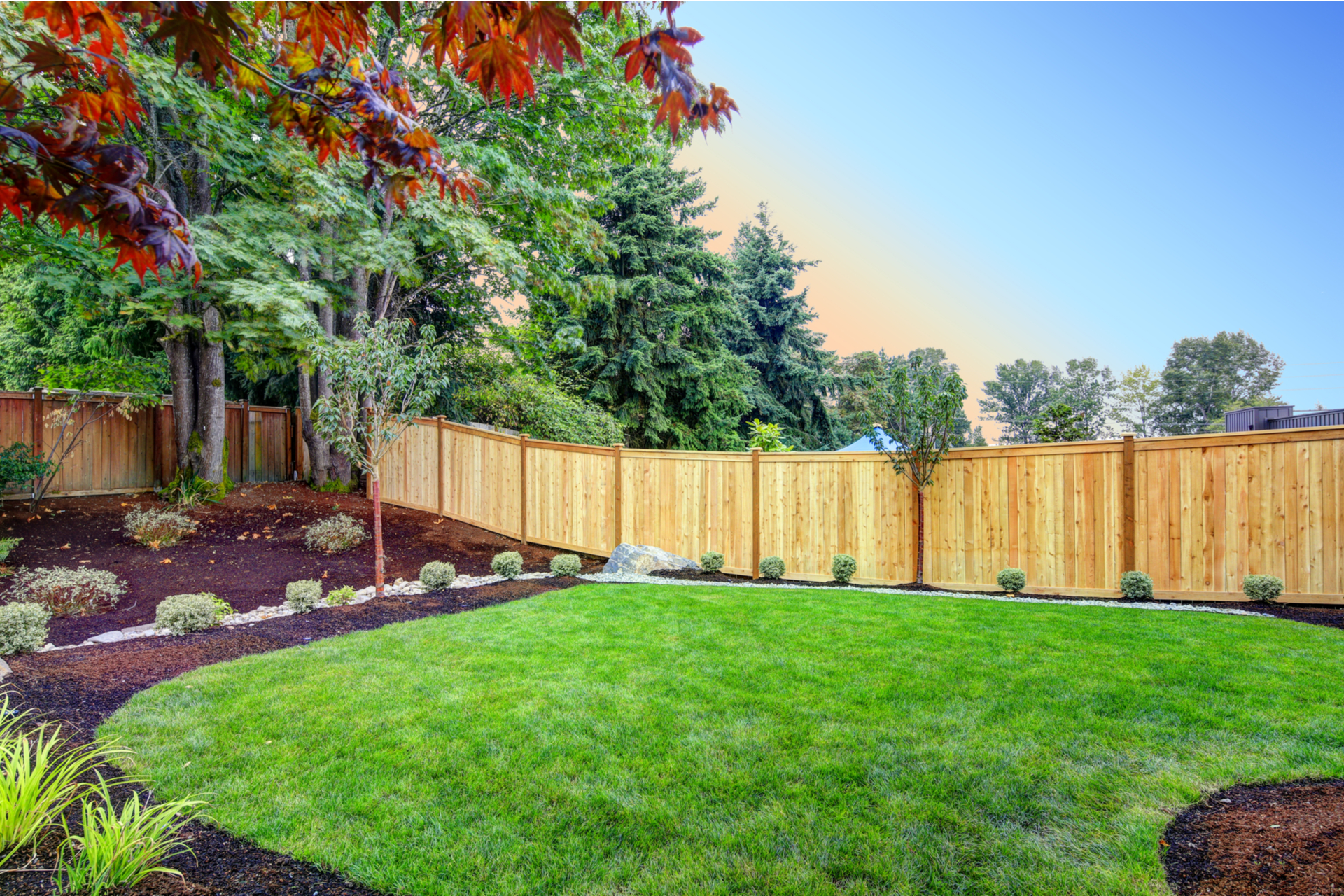 View of an attractive backyard with new planting beds and well kept lawn.